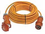 as - Schwabe 59647 CEE-Verlängerung 400V / 32A, 25 m H07BQ-F 5G4 mit Phasenwendestecker, IP44 Gewerbe, Baustelle, orange