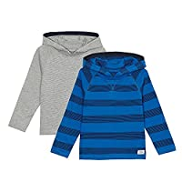 Bluezoo Kids Pack Of Two Boys' Blue And Grey Striped Hooded Sweaters Age 2-3