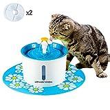 AOLVO Fontanella Cat Pet Fountain1.6L Cane Fontana per la circolazione degli Animali Domestici con Finestra Fontana di Acqua con 2 filtri, 1 Fiori e 1 Tappetino in Silicone (Blu)