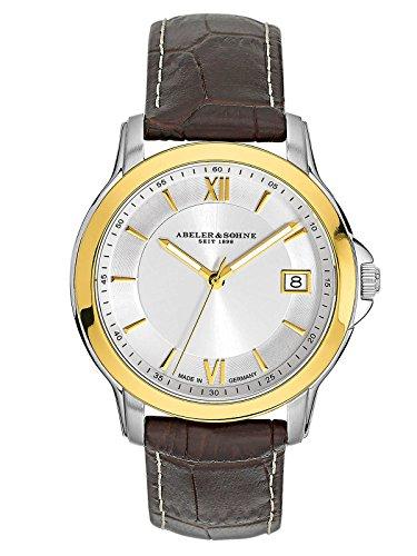 Abeler & Söhne Fabricado en Alemania Bicolor Mujer Reloj con Cinta de Piel, Cristal de Zafiro y Fecha as3002