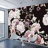 HONGYUANZHANG Benutzerdefinierte 3D Fototapete Mural Schwarz Weiß Rose Pfingstrose Blume Wandbild Wohnzimmer Wohnkultur Malerei Tapeten,170cm (H) X 250cm (W)