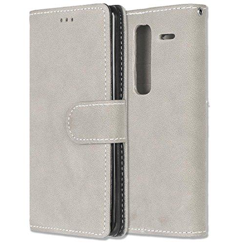 LG Zero / Class / H740 Hülle, Chreey Matt Leder Tasche Retro Handyhülle Magnet Flip Case mit Kartenfach Geldbörse Schutzhülle Etui [Beige]