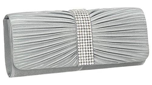 SwankySwansJane Satin Diamante - Sacchetto donna Grigio (grigio)