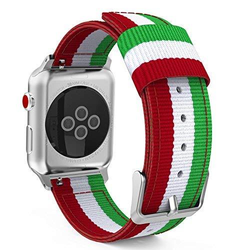 MoKo Armband Kompatibel für Apple Watch Series 5/4/3/2/1, Nylon Strick Replacement Uhrenarmband Sportarmband Band Erstatzband mit Schließe, Grün/Rot/Weiß