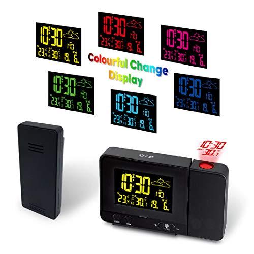 FENGCLOCK Farbe Projektion Wetter Uhr, Wettervorhersage Wetteruhr mit Outdoor Sensor, Digital Thermometer Hygrometer HD-Anzeige Wetterstation Funk Projektion Wecker