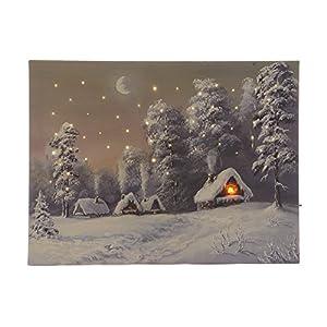 zeitzone LED Bild Winter Berge Weihnachten Schnee Winterdorf Mit Beleuchtung 30x40cm
