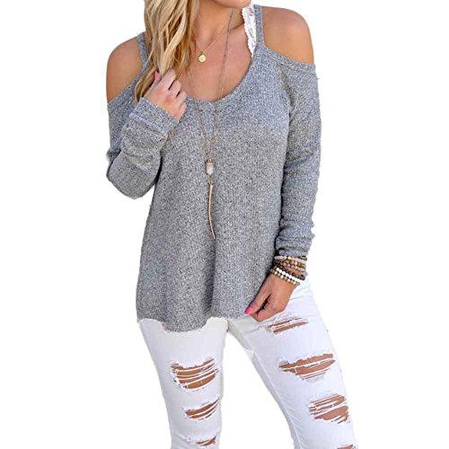 donne top senza spalline maniche lunghe camicetta sport casuali t-shirt (Grigio, XL)