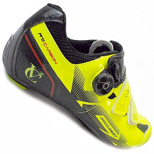 VeloChampion VCX Chaussures cyclistes (paire) avec semelles fibres de carbone Cycle Shoes Fluoro Yellow/Black
