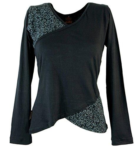 Guru-Shop Langarmshirt Boho-chic, Damen, Baumwolle, Pullover, Longsleeves & Sweatshirts Alternative Bekleidung Schwarz