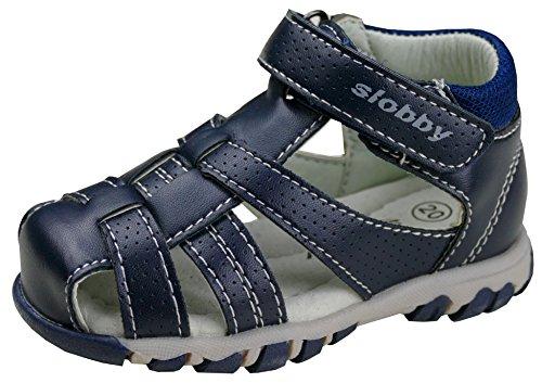 gibra Trekking Sandalen für Babys und Kleinkinder, Art. 0047, mit Lederfußbett, Dunkelblau, Gr. 25