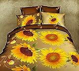 Charming Sonnenblumen 3D Bettwäsche Set Doppelbett King Größe Bettbezug + 2Kissenbezüge 3Set Mikrofaser Gefühl, gelb, Doppelbett