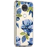 Coque pour Motorola G7 Étui Silicone Transparente,Surakey Motif Fleur bleue [Ultra...