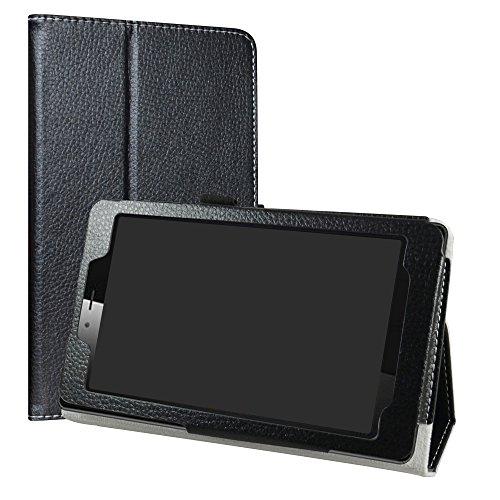 LiuShan Vodafone Smart Tab Mini 7/Alcatel Pixi 4 7 Funda, Folio Soporte PU Cuero Con Funda Caso para 7' Vodafone Smart Tab Mini 7/Alcatel Pixi 4 7 Android Tablet,Negro
