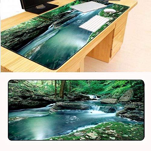 Lbonb 900 * 400 * 2 Mm Stein Wasserfall Baum Mauspad Schloss Rand Kreative Große Verdickung Spiel Tastatur Tischset