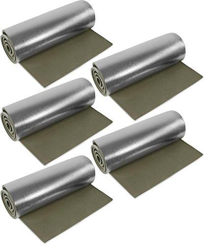 normani 1, 2, 3 oder 5 Ultraleichte Isomatten mit Aluminiumbeschichtung/Alu-Thermomatte Isomatte Farbe Oliv / 5 Stück