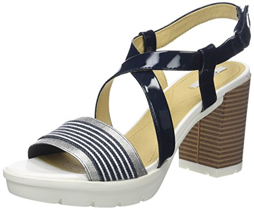 Geox D Gintare B, Sandales Bout Ouvert Femme Bleu (Navy/white)