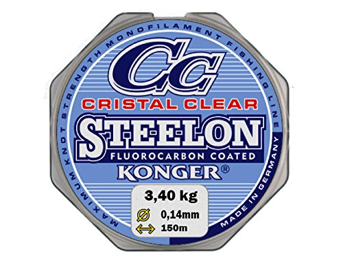 Konger Angelschnur Cristal Clear Fluorocarbon Coated 0,12-0,50mm/150m Monofile Super stark ! (0,05€/m) (0,14mm/3,40kg)