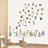 Lettres et chiffres papier peint mural chambre d'enfant bureauStickers muraux Sticker...