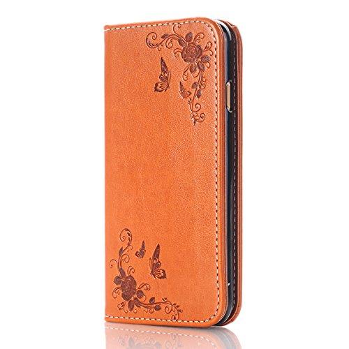 iPhone 6 Hülle, iPhone 6S Leder Wallet Tasche Brieftasche Schutzhülle, LOVONKI Schmetterling Fliege im Rose PU Lederhülle Handyhülle Flip Handy Hülle im Bookstyle Silikon Cover Schale Stand Ständer Et Brown