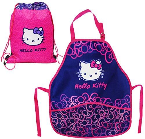 Unbekannt 2 TLG. Set:  Hello Kitty / Katze  - Turnbeutel + Kinderschürze - größenverstellbar - Schürze / beschichtet - für Mädchen - Kinder - Backschürze / Bastelschü.. - Meine Rosa Schürze