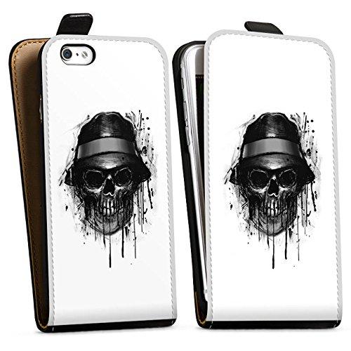 Apple iPhone X Silikon Hülle Case Schutzhülle Totenkopf Hut Skull Downflip Tasche schwarz