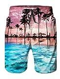 AIDEAONE Herren Strand Shorts 3D Print Grafik mittlerer Länge Casual Shorts