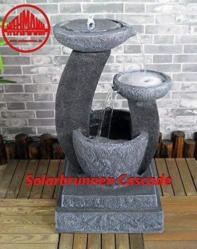 Wehmann Solarspringbrunnen Solarbrunnen Cascade Garten Brunnen Kaskade Komplettset für Garten und Terrasse Tag und Nacht ! mit externer Solaranlage und Netzteil! ✔NEU