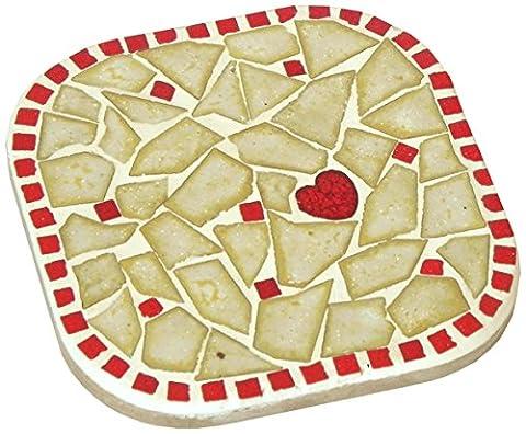 Kit de mosaique, 10X10cm, 2 dessous de tasse , Blanc Perlé et Rouge
