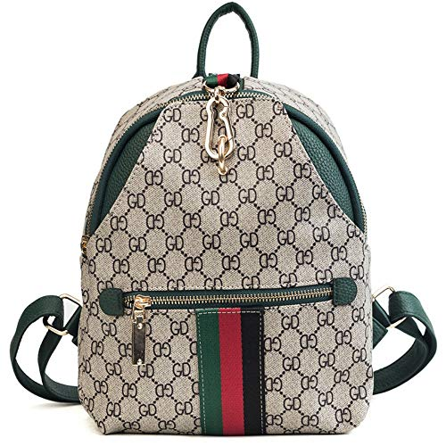 Imagen de woairan bolso de moda mujer raya de impresión vintage handbag señoras ocio multifunción simple mochila de viaje