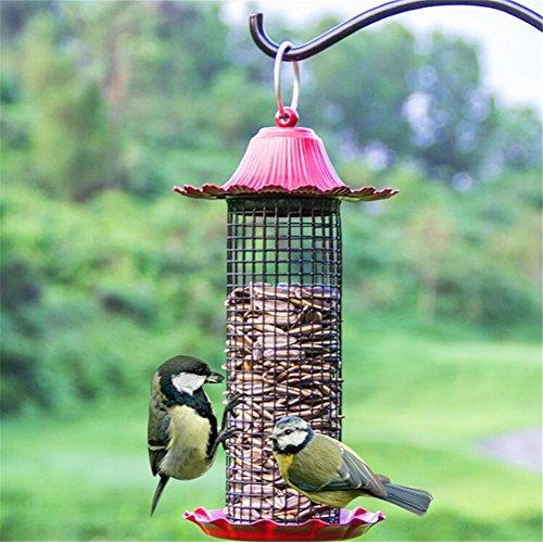 Dbtxwd Vogel-Zufuhr-Kolibri-Automatische Zufuhr mit Dem Metalldach Perfekt Für Garten-Dekoration,Red