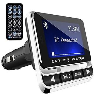 Bluetooth-FM-TransmitterToHayie-Wireless-Auto-Radio-AdapterFreisprecheinrichtung-Car-Kit-mit-USB-Auto-Ladegerte35-mm-AUX-und-MicroSDHC-Karten-Slot-fr-iPhone-X8Samsung-S8Car-MP3-Player