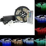 DUMVOIN Kit de Ruban à LED 5050 RGB SMD Multicolore 5m 300 LEDs 60W, Bande Ruban Etanche avec Télécommande à Infrarouge 44 Touches et Alimentation 5A 12V