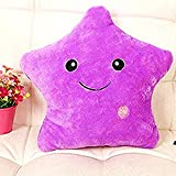 Missley LED estrella cojín almohada brillante luz hasta coloridos brillantes LED estrella peluche almohadas muñeca de juguete de peluche para decoración regalos (Purple)