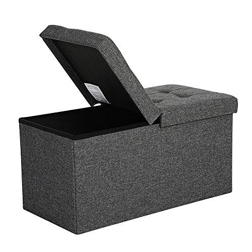 *SONGMICS Faltbare Sitzbank 80 L Truhenbank Halbdeckel seitlich klappbar belastbar bis 300 kg 76 x 38 x 38 cm dunkelgrau LSF46GYZ, Bezug aus Leinenimitat, Schaumstoff, MDF-Platte*
