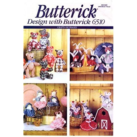 Butterick 6510 Crafts Sewing Pattern Little Friends Bunny Bear Mouse by Butterick