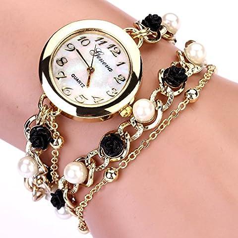 Nusey (TM) di cristallo 2016 di nuovo stile della perla della Rosa catena di Ginevra orologio del braccialetto delle donne del vestito Orologi vigilanza di marca vigilanza della catena XR464