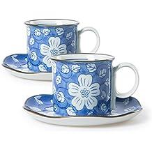 Chinzee juego de tazas y plato porcelana pintado a mano azul pequeña 150ml para café solo