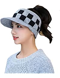 a71fa03dd82d4 CJC Sombreros Visera Gorra Mujer Cola De Caballo Sucio Bollo Gorrita Tejida  Tejer Invierno Calentar Bollo