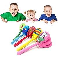 Kent MarkS - Castañuelas de madera con dibujos animados, juguetes musicales para bebé, colores brillantes para regalos