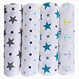 haus & kinder Twinkle Collection Cotton Muslin Swaddle Wrap for New Born Baby (Pack of 4, Anchor + Dots + Turquoise + Grey)