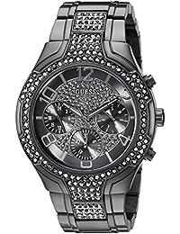 GUESS Femme Bracelet & Boitier Acier Inoxydable Gris Quartz Cadran Noir Chronographe Montre U0628L5