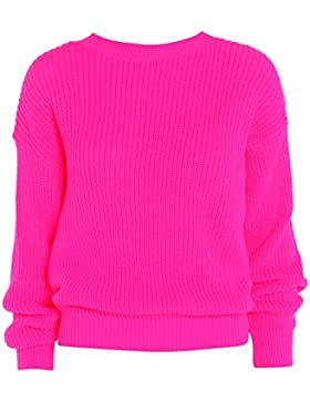 Ladies Womens gran tamaño Baggy Plain–Ovillo de jersey de punto grueso de punto largo Top Jumper UK 8–14