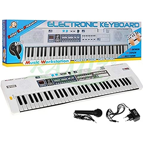 TECLADO MQ-008UF con función de grabación, micrófono, RADIO, USB - 15 sonidos y ritmos 10, dos altavoces, control de volumen, 61 teclas, la pantalla de cristal líquido - Piano eléctrico
