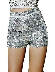 Femmes Paillettes Argent Taille Haute Shorts Jazz Dancing Party Hot Pants