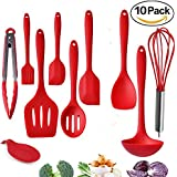 Kitchen Utensils, Silicone Heat-Resistant Non-Stick Kitchen Utensil Set Cooking Tools 10 Piece,Turner, Whisk, Spoon,Brush,Spatula, Ladle Slotted Turner Tongs Pasta Fork And Free Spoon Rest By Ziaon