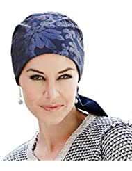 Pañuelo oncológico de vestir de algodón azul con lentejuelas