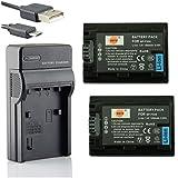 DSTE NP-FH50 Li-ion Batería (2 paquetes) Traje y cargador micro USB para Sony DSLR-A230, DSLR-A290, DSLR-A330, DSLR-A380, DSLR-A390, DSC-HX1, DSC-HX100V, DSC-HX200V, HDR-TG5V