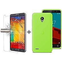 TBOC® Pack: Funda de Gel TPU Verde + Protector Pantalla Vidrio Templado para Vodafone Smart Prime 6 VF-895N. Funda de Silicona Ultrafina y Flexible. Protector de pantalla Resistente a Golpes, Caídas y Arañazos.