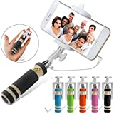 Buyersbargin® Portable Pocket Foldable Super Mini Wired Selfie Stick Handheld Extendable Monopod + Built in Bluetooth Shutter Non-slip Handle Compatible with iphone 4s, 5s, 6, 6 Plus , 6S, 6C, Samsung Galaxy S3, S4, S5, S6, S6 edge , Note 2, 3, 4, 5, Nexus 5, 6, HTC One, LG - UK SELLER (Black)