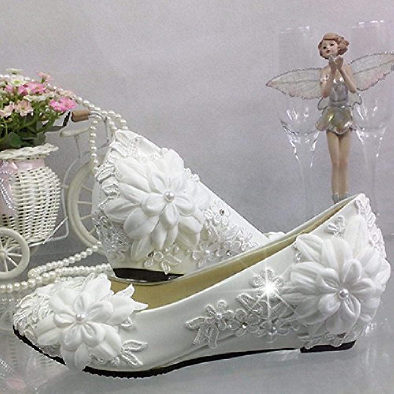JINGXINSTORE Cuneo con fiore di pizzo Strass scarpe matrimonio bianco spose damigella matrimonio unico prestazioni... | Delicato  | Scolaro/Ragazze Scarpa